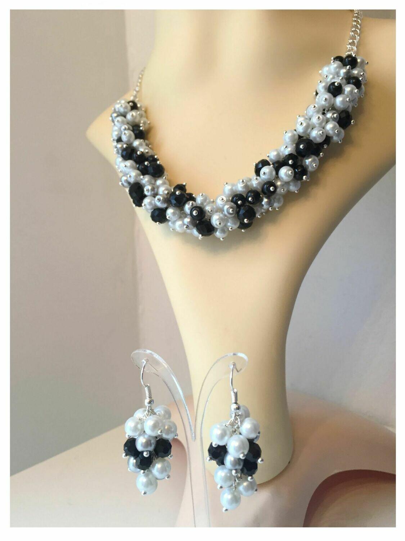 White silver grey black pearl & crystal necklace bracelet earrings set - handmade | Gemstoneriver