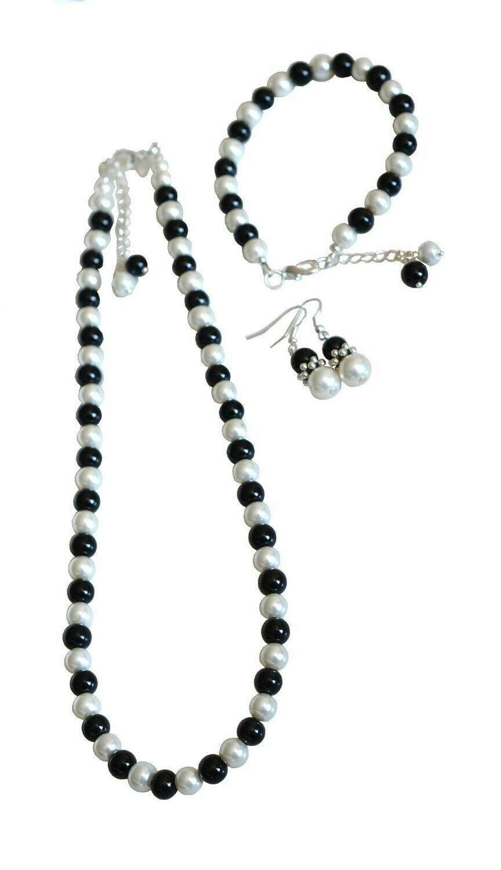 N127 custom order Julia V - Black & Ivory Cream Pearl Necklace & Earring Set -
