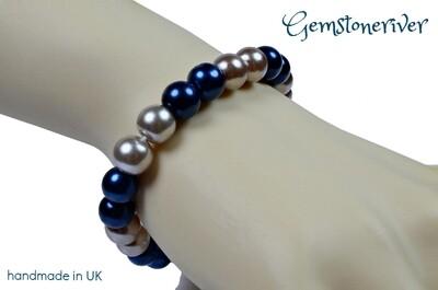 B299 Stylish capri blue & Mocha Taupe Pearl Bracelet UK