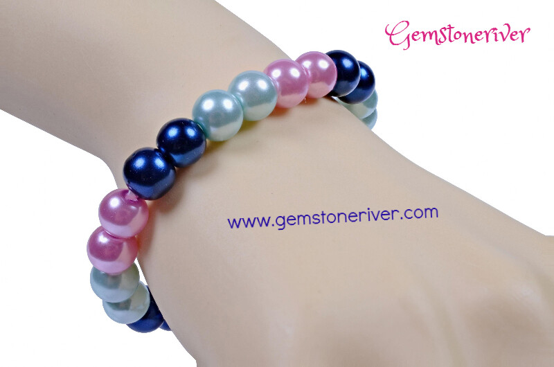 Stylish blue black baby blue mauve pink blush Pearl Bracelet