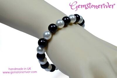 Stylsh Black & Cream Ivory White Pearl Bracelet |Bridesmaid Wedding Birthday Gift charms UK