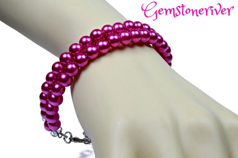2pc Cerise Fuchsia hot pink pearls flexible Bracelet & Earrings double strand cuff