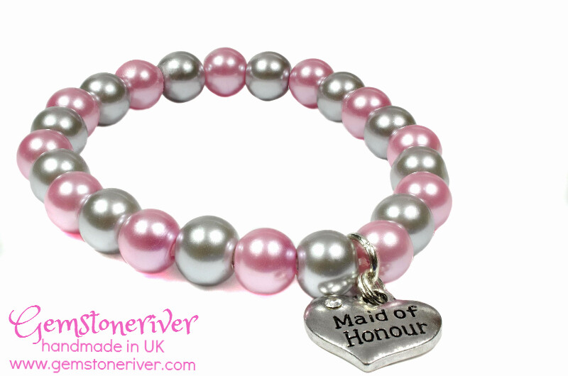 B241 Light pink & Mocha Taupe Pearl Bracelet Maid of honour Bride Mother Charm UK