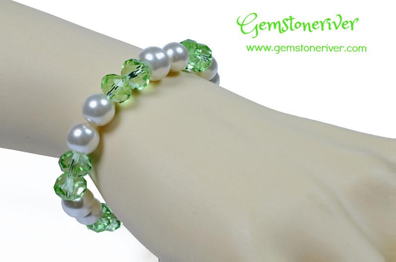 B69 Green sparkling Crystal & White Pearl Bracelet | Bridesmaid Wedding Birthday Gift | choose charms Gemstoneriver UK