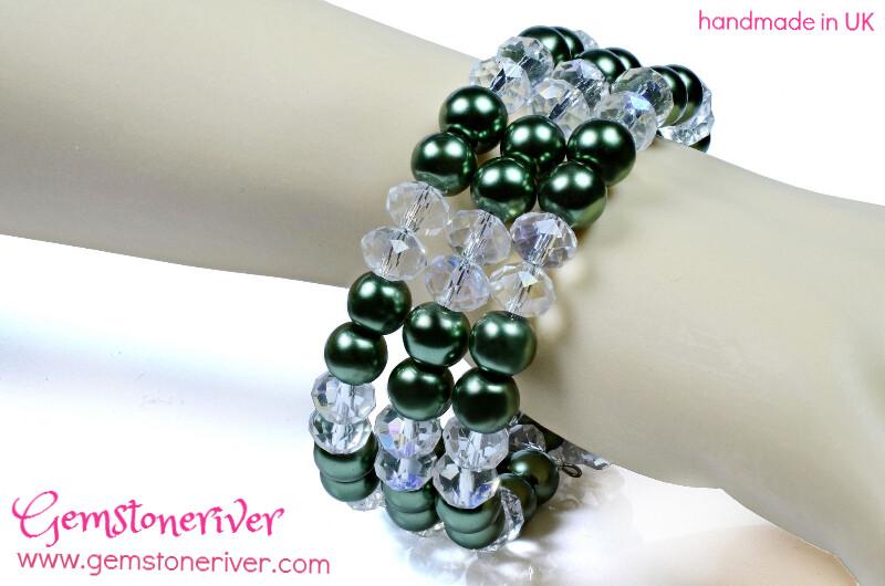 B318 Crystal Quartz & Olive Green Pearls - Multi-strand flexible Cuff Bracelet & Earrings SET Bridesmaid, Party, Extendable, Chunky Jewellery