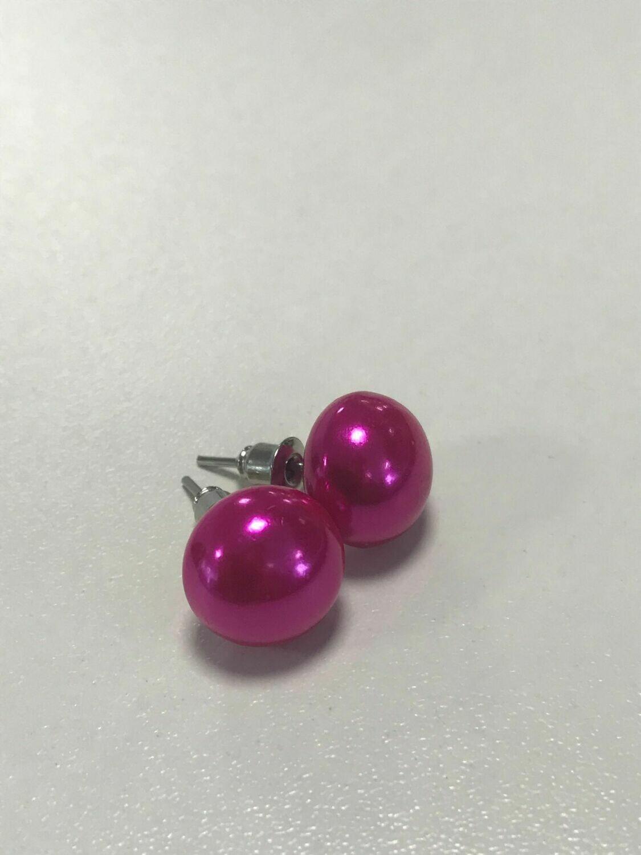 Reserved for Mrs RIMMER - E641 cerise pink fuchsia stud earrings