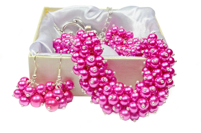 Custom order for Kerri - Cerise Hot Pink Fuschia Pearl Cluster necklace, Bracelet & Earring Set