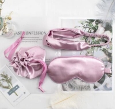 Lavender blush mulberry silk eye mask, headband & gift bag 3pc set