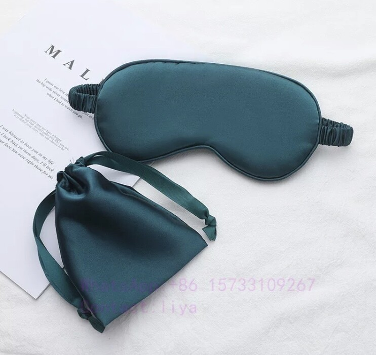 2pc Green Luxury mulberry silk eye mask & gift bag set Christmas gift stocking filler