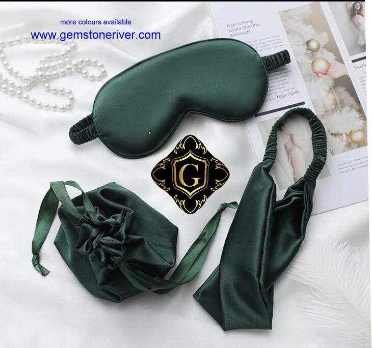 3pc set green mulberry silk eye mask, headband & gift bag