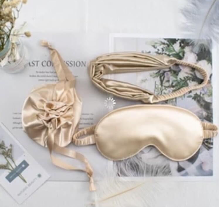 3 pc taupe mocha mulberry silk eye mask headband & gift bag - glamorous Christmas Valentine gift UK