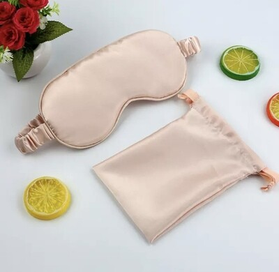 3 pc taupe mocha mulberry silk eye mask headband & gift bag - glamorous Christmas Valentine gift UK