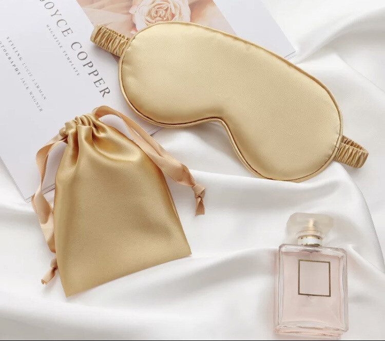 2pc set Gold mulberry silk eye mask & gift pouch bag