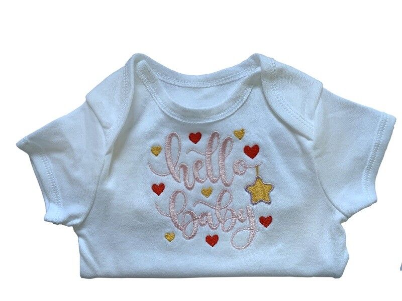 Hello Baby new born & premie baby girl boy onesie romper vest gifts UK personalised