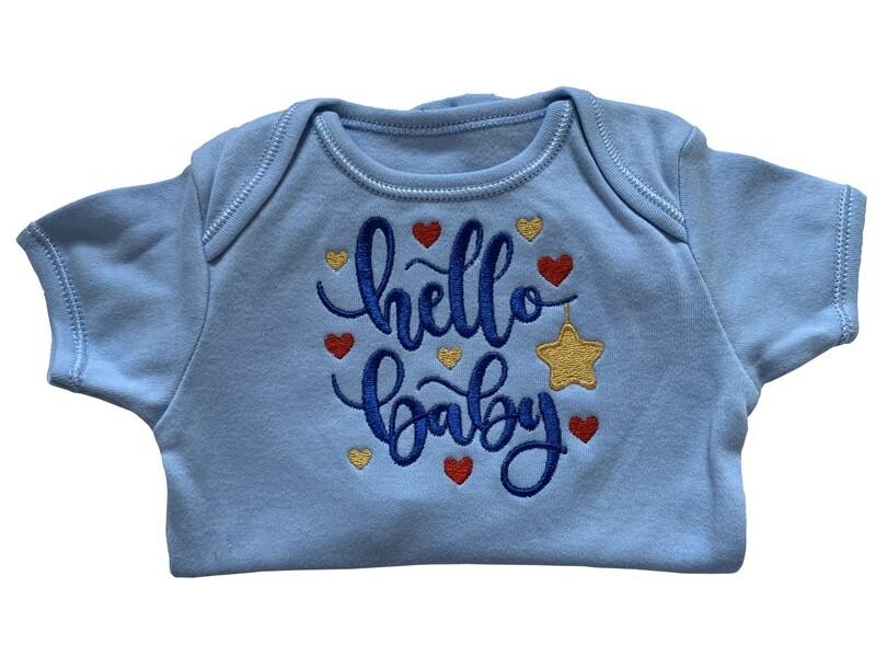 Hello Baby new born & premie baby boy onesie romper vest gifts UK personalised