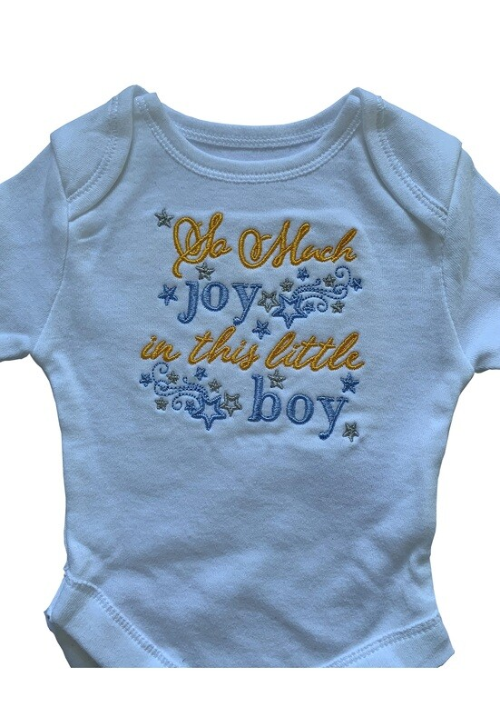 So much joy in this boy new born & premie baby girl boy onesie romper vest gifts UK personalised