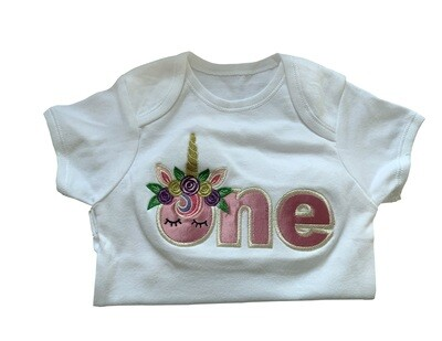 Girly onesie romper Top with ONE for 1st birthday & flowery unicorn horn personalised gifts UK