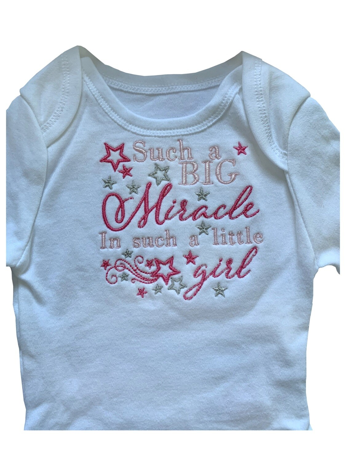 Such a big Miracle in such a little girl new born & premie baby girl boy onesie romper vest gifts UK personalised