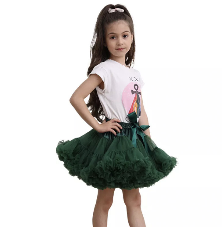 Dark green fluffy Tutu luxury personalised birthday Christmas outfit gifts UK