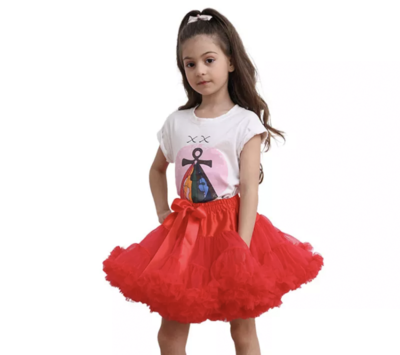 Red fluffy Tutu pettiskirt luxury personalised birthday Christmas fancy dress outfit gifts UK