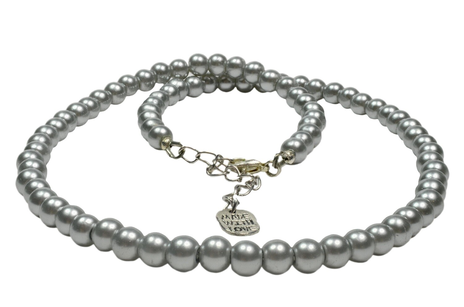 N152 silver grey pearl single line necklace earrings