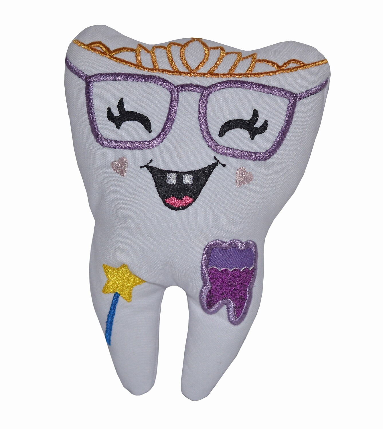 Tooth fairy pillow & Glasses, coin pocket custom made gift for kids girls, baby milk teeth loss comforter, Diva door hanging tooth pillow UK