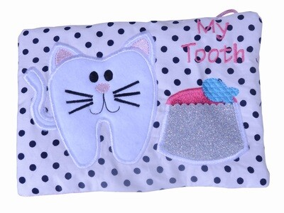 Kitty cat kitten tooth fairy girls hanging pillow kids gift cushion & sparkly pocket personalised UK
