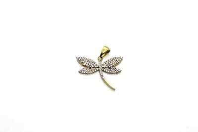 Dije de dama de libélula en oro de 10k
