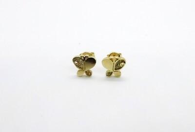 Aretes de dama de mariposa  en oro de 10k
