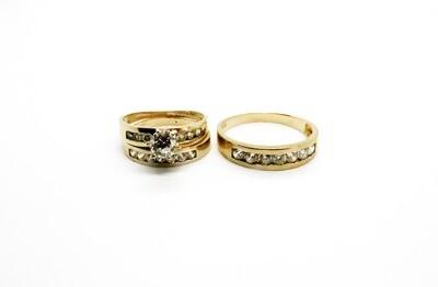 Trío de matrimonio  en oro 10k