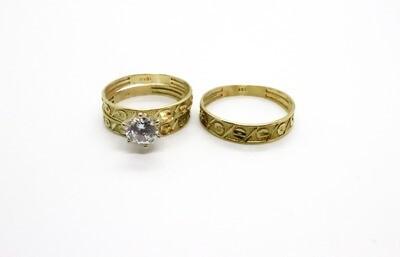 Trío de matrimonio con circón en oro 10k
