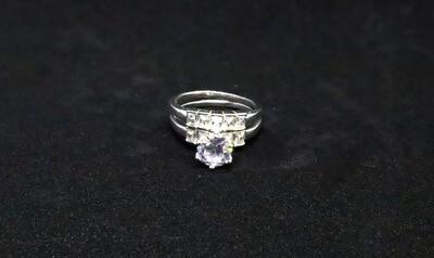 Juego de anillos de matrimonio para dama en plata .925