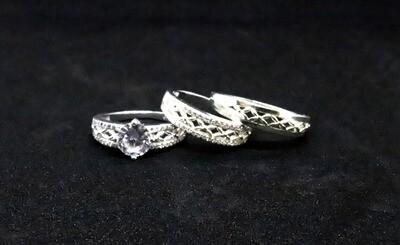 Trio de anillos de matrimonio con circón en plata .925