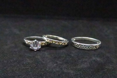 Trio de matrimonio en plata .925
