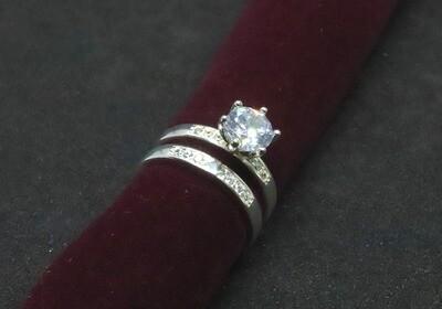 Juego de matrimonio de dama con circón en plata .925