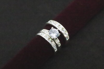 Trio de matrimonio con circón en plata .925
