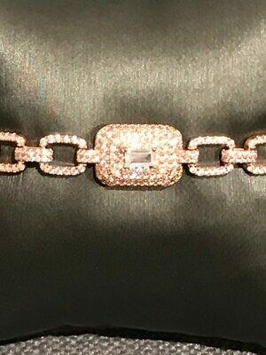 Bracelet Gourmette Rhinestones with Center emerald cut