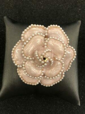 Brooch Camelia Pearls Enamel