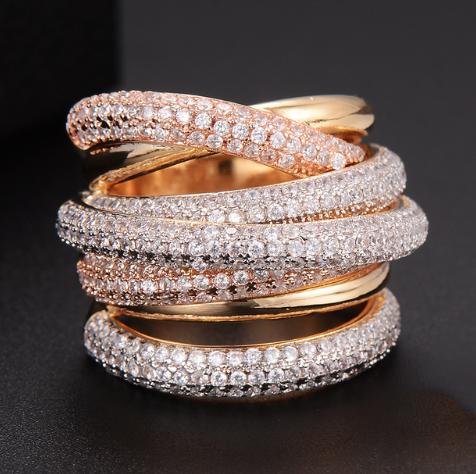 Multiple cubic zirconium twisted rings