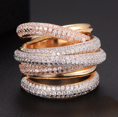 Multiple cubic zirconium twisted rings