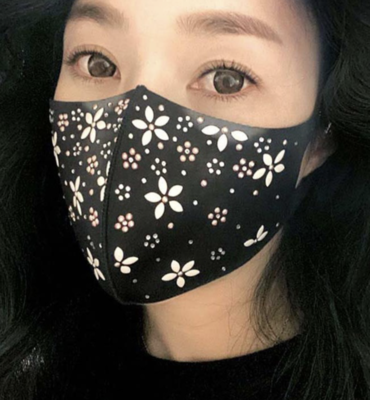 Face Mask Flowers rhinestones