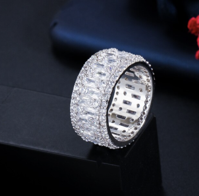 Wedding Ring Pave cubic zirconia ( Copper )