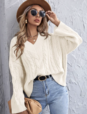 Sweater Cable V neck