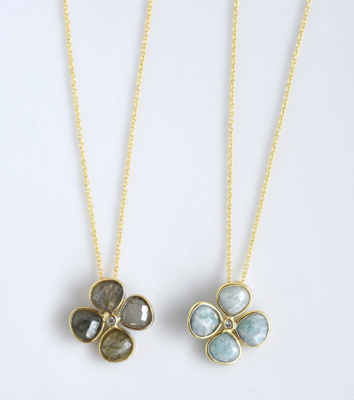Necklace Stone clover