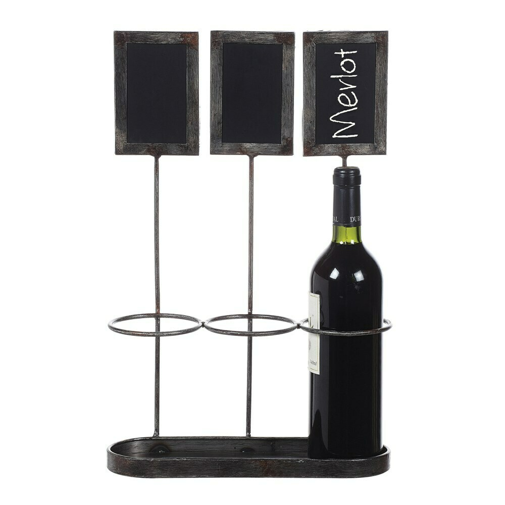 Metal Wine Bottle Holder w/ Chalkboards