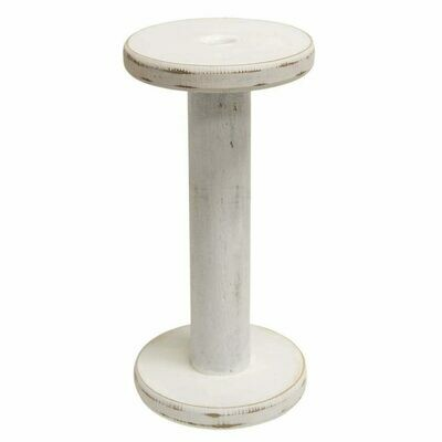 Distressed White Spool Candle Holder, 9.5 inches