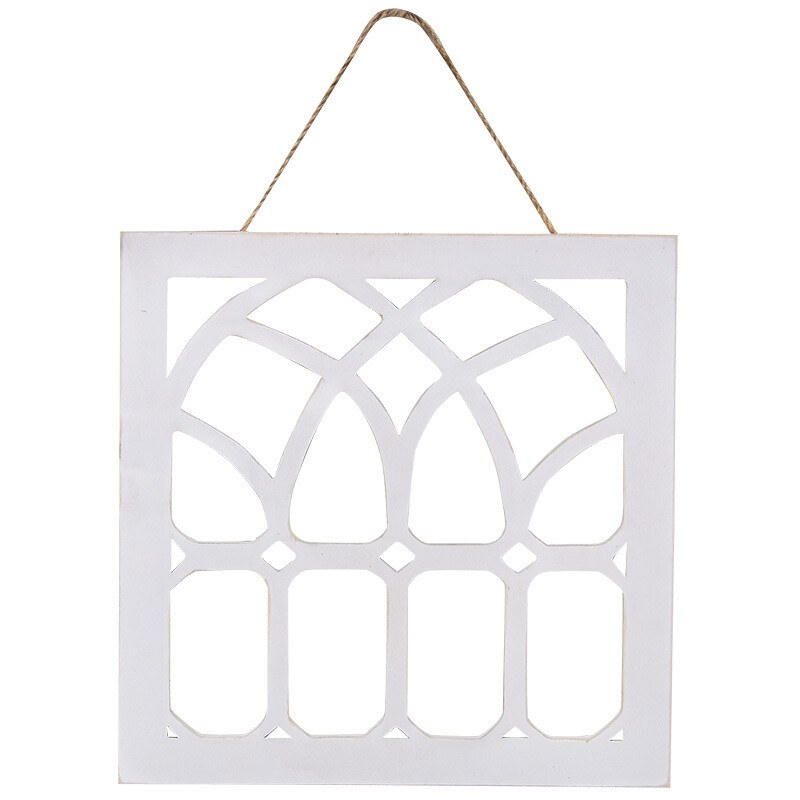 Distressed White Cathedral Window Hanger
