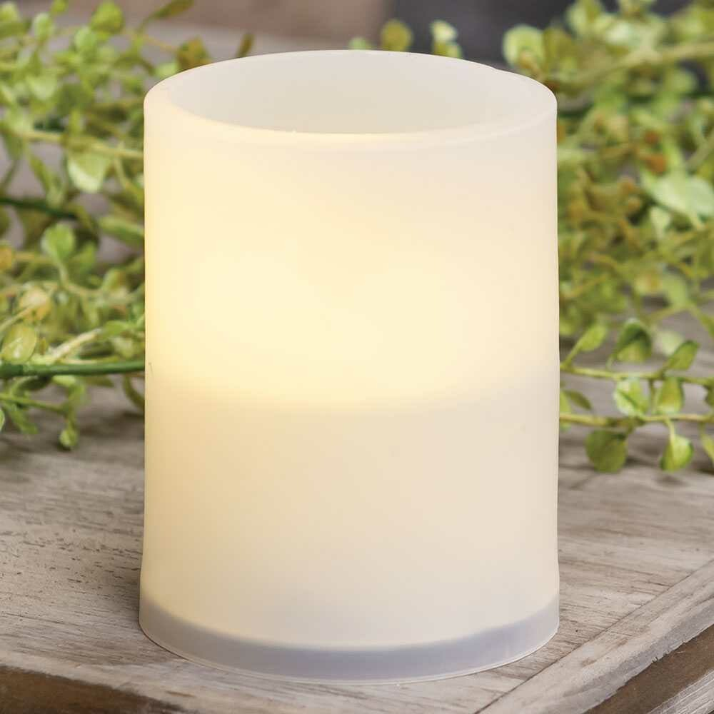 Warm Light White Pillar Candle, 4 inches