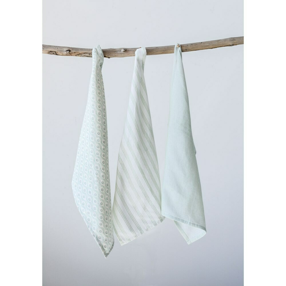 Set of 3 Cotton Tea Towels, Neutral
