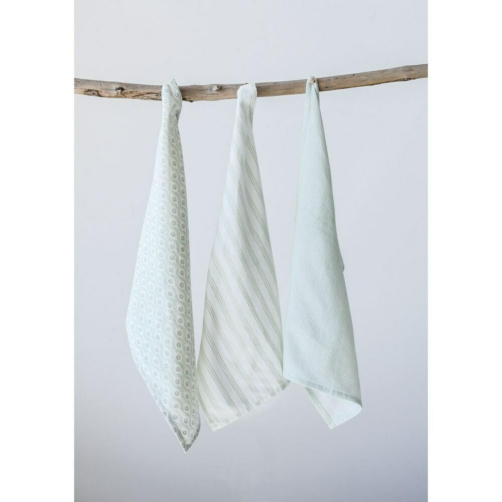 Set of 3 Cotton Tea Towels, Neutral